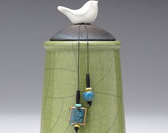 Ceramic jar with Bird olive green pottery jar , home decor,Little Clay Bird on Jar, raku fired art pottery