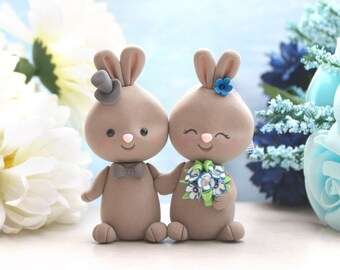 Bride and groom wedding toppers interracial Bunny holding hands - brown tan rabbit rustic country elegant funny wedding gift barn cute