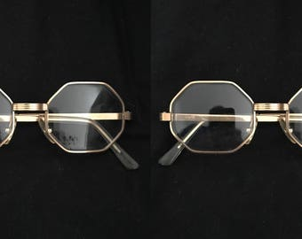 Frame France 20/000 14K GF Gold Filled Polygon Cat Eye Glasses Metal Octagonal French Eyeglasses Sunglasses Mod (one frame)