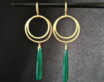 Green Onyx and Vermeil Art Deco Drops