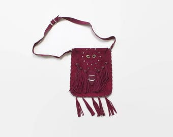 Vintage 70s Boho PURSE / 1970s Custom Made Fringed Fuchsia Leather Hippie Shoulder Bag