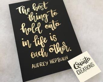 Audrey Hepburn Quote - Gold, Watercolor Print