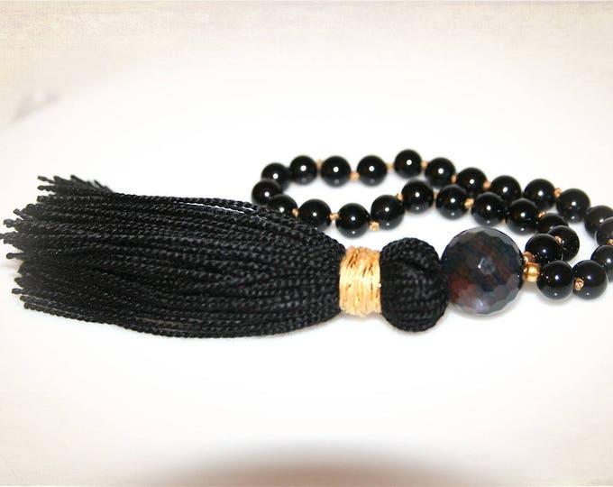 Black Onyx and Gold Knotted Pocket Mala. 27 Bead Mala. Yoga, Meditation, Prayer Beads