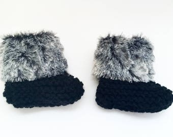 Black Faux Fur Baby Booties, Gray Faux Fur Baby Booties, Newborn Shoes, Knit Booties, Newborn Photo Prop, Knitted Baby Socks