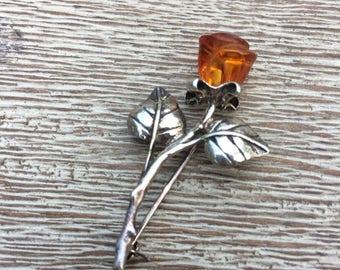 Vintage Silver Carved Amber Rose Brooch