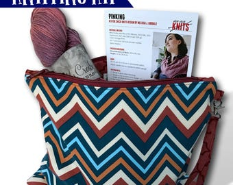"On Point - A ""Just Add Needles"" Knitting Kit- Limited Edition Project Bag, Yarn & Cowl Pattern"