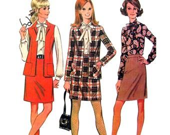 1960s Jacket Slim Skirt Blouse Pattern McCalls 9412 Neck Tie Secretary Skirt Suit Womens Bust 34 Vintage Sewing Pattern