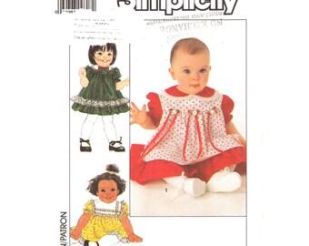 Baby Girls Dress Pattern Simplicity 9469 Peter Pan Collar Pinafore Puff Sleeve Dress Infant Size 6 12 18 months Sewing Pattern Uncut
