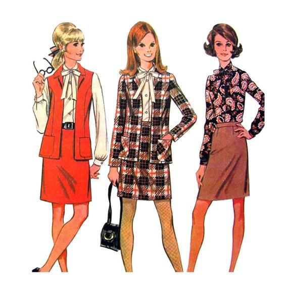 1960s Suit Jacket, Slim Skirt, Blouse Neck Tie Pattern McCalls 9412 Womens Bust 34