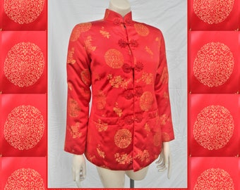 Asian red padded jacket stand up collar frog closures- warm Chinese jacket- XS- Moon Rabbit label-gold medallion with flowers
