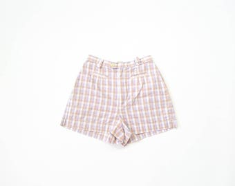 90s Plaid Shorts 1990s High Waist 50s Inspired Pinup Playsuit 1950s Rompers Ye-ye Pastel Prep Summer Soft Grunge American Eagle XS size 0