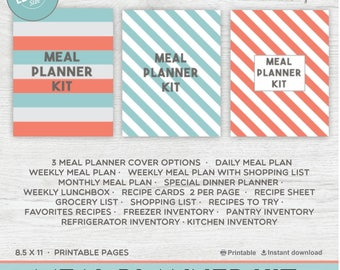 Meal Planner Printable Menu Planner / Weekly Meal Planner / Grocery List  Shopping List / BIG Happy Planner - Instant Download PDF