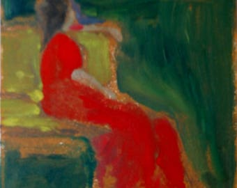 The Red Dress, a one of a kind monotype print