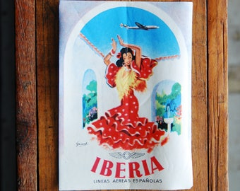 Vintage Iberia Travel Decal Gummed Sticker