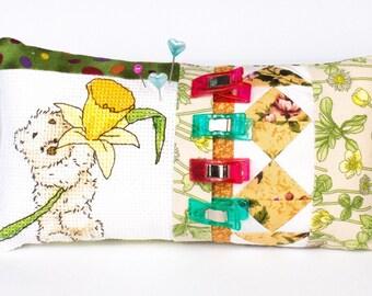 Patchwork Pincushion/Bear, Daffodil pincushion/Large Handmade pincushion/Unique cross stitch pincushion/Wonder clips/Quilt pincushion yellow