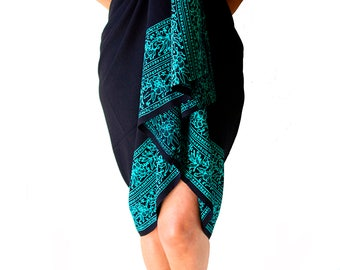 Summer Outdoors Sarong PLUS SIZE Clothing 3x 4x 5x Beach Sarong Plus Size EXTRA Long Black & Teal Sarong Dress or Skirt - Plus Size Cover Up