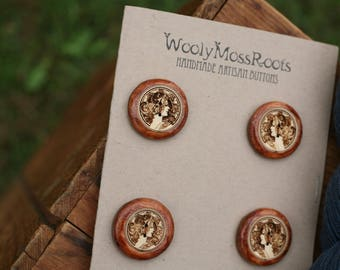 4 Cameo Lady Buttons- Yellow Cedar Wood- Wooden Buttons- Eco Craft Supplies, Eco Knitting Supplies, Eco Sewing Supplies