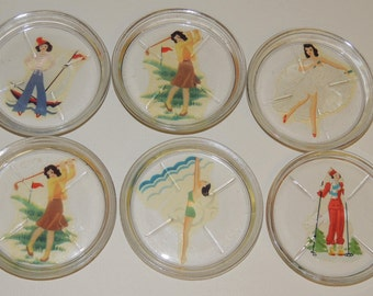 1940s Glass Coasters, set of 6