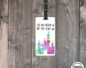 Luggage Tag Princess Sleeping Beauty Castle Coordinates Map Metal Luggage Tag  With Printed Custom Info On Back, Single Tag