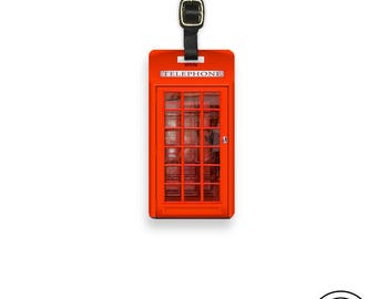 Luggage Tag British Red Phone Booth ,  Personalized Metal Tag Single Tag  Custom information on Backs Choice of Straps