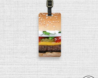 Luggage Tag Burger Luggage Tag Personalized Luggage Tag -Single Tag  Hamburger