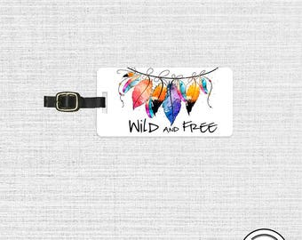 Luggage Tag Wild and Free Boho Rainbow Feathers Metal Luggage Tag  With Printed Custom Info On Back, Single Tag