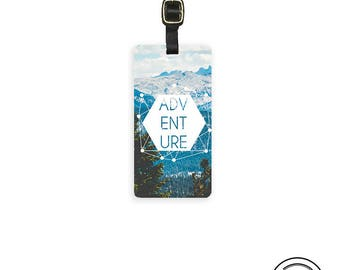 Luggage Tag  Adventure Vintage style Metal Luggage tag  Printed Custom Info Single Tag