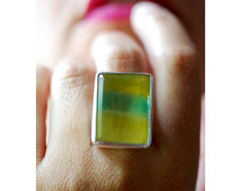 Yellow Banded Fluorite Ring All Natural