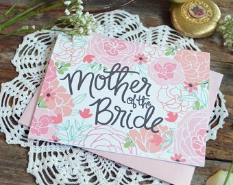 Mother of the Bride Card, Floral Wedding, Thank You Card, Greeting Card, Notecard, Floral Notecards, Wedding Family Card, Illustrated Card