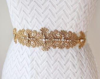 Melita Bridal Belt, Gold Bridal Belt, Boho Wedding Belt Sash, Elegant Gold Wedding Belt, Bridal Silver Belt, Gold Lace Belt Sash
