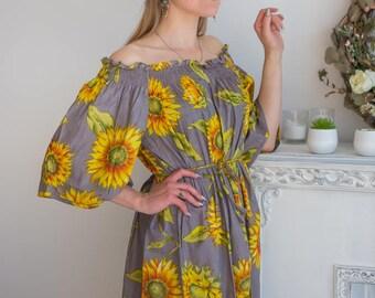 Gray sunflower off the shoulder Maxi Dress| Summer Dress| Workwear| Sundress| Long Dress| Boho Dress| Maxis| Street Style