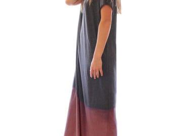 Hand dyed charcoal maxi t shirt dress, grey maxi dress, maxi dress