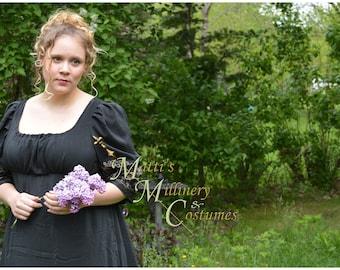 Black Sari Mourning Jane Austen Style REGENCY Day Gown Ball Dress
