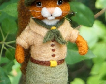 Needle Felted Boy Scout Chipmunk - Needlefelted Wool and Animal Soft Sculpture
