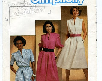 Vintage 80s Simplicity 6789 Womens Pullover Short Sleeve Dress with Funnel Neck UNCUT Sewing Pattern Size 12 Small Bust 34