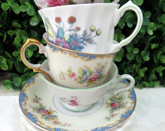 Set of 4 Mismatched Fine China Demitasse Cups & Saucers, Pretty Pink and Blue Florals CS44