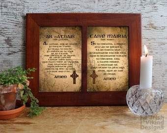 Prayers in Irish language, Our Father, Hail Mary, Irish Gaelic language, Irish language prints, prayers in Irish Gaelic, Ireland, Irish gift