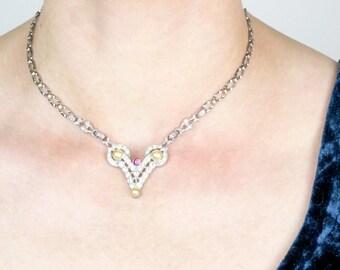 Vintage Art Deco Necklace | 1920s Rhinestone Necklace | 1920s Wedding Bridal Necklace