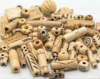 Bone Beads Mix, 6-30mm, 50pcs, Cow Bone Beads, Natural Beads, Hemp Jewelry Beads -BN30