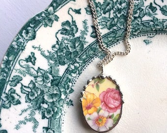 Broken china jewelry - china necklace pendant - pink rose, yellow white blossoms made from antique broken china. recycled china