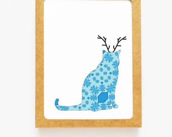 Holiday Brocade Cat Reindeer Card for Christmas Greetings or Happy New Year Cards