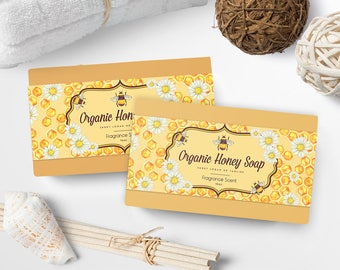 Soap Labels - Honey Soap Labels - Soap Packaging - Soap Wrapper - Cosmetic Labels -  Printable Label Design - Product Labels - SW-3-2