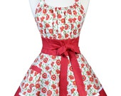 Flirty Chic Pinup Apron - Red Poppies Apron - Womens Sexy Cute Retro Kitchen Apron with Pocket