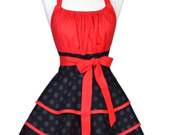 Womens Flirty Chic Apron . Black Tone on Tone Polka Dots and Red Cute Sexy Rockabilly Vintage Style Retro Pin Up Kitchen Cooking Apron (CS)