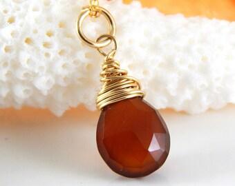 Honey Chalcedony Charm ~ add a charm ~ add a dangle ~ Wire Wrapped Charm - AdoniaJewelry