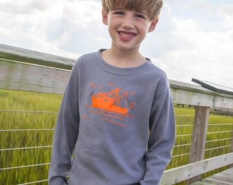 Shrimp Boat Long Sleeved Crew by  Graphic Tees in Slate with Orange