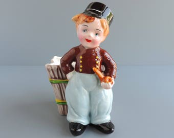 Vintage Napco Dutch Boy Planter #K662, Mid-Century Boy Holding Pipe and Wearing Clogs, Figural Cache Pot, Made in Japan, Home Decor Vase
