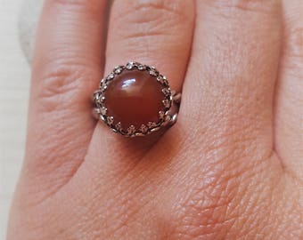 New Listing Sale... Beautiful Israeli Antique 925 Carnelian Adjustable Ring. Filigree Ring. Carnelian Silver Ring. Israel Jewelry