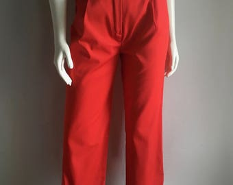 Vintage Women's 80's Pleated Red Pants, High Waisted, Tapered by Ciao Sport LTD (M)