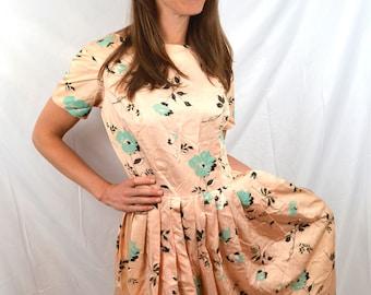 Vintage 1950s 50s Floral Party Dress